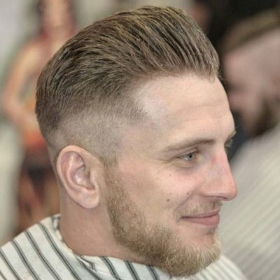 High Fade + Brush Back and Beard