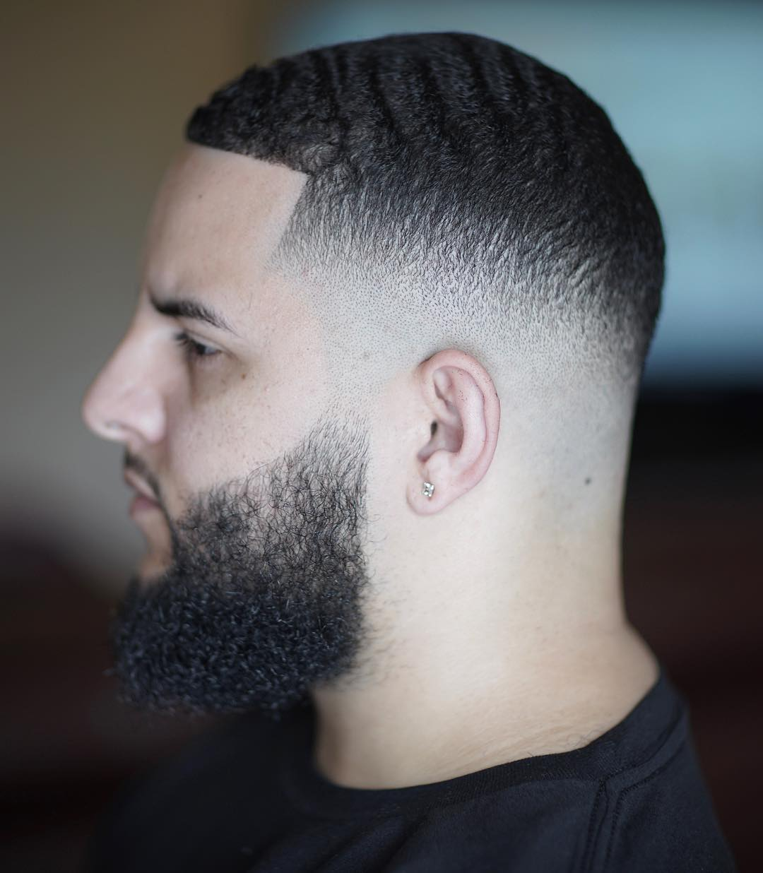 Clean Mid Fade + waves + Beard