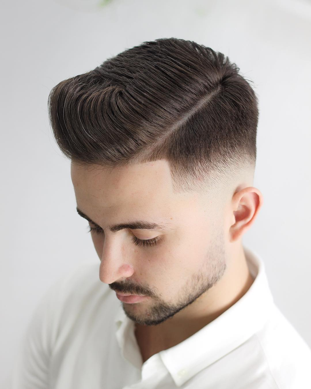 Combover Side Part + Sharp Fade