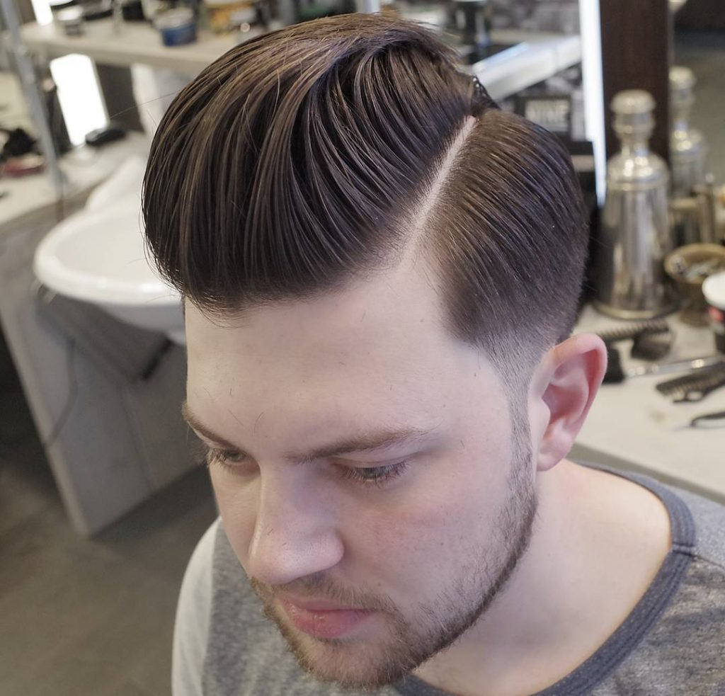 Medium Length Pomp + Low Fade