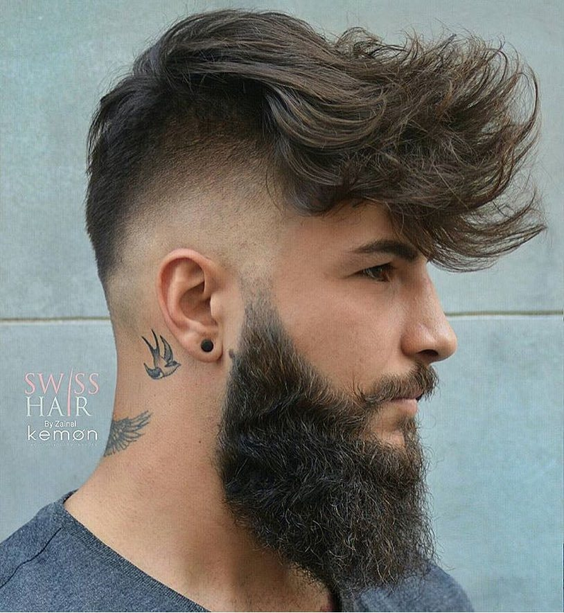 Messy Long Undercut + Beard