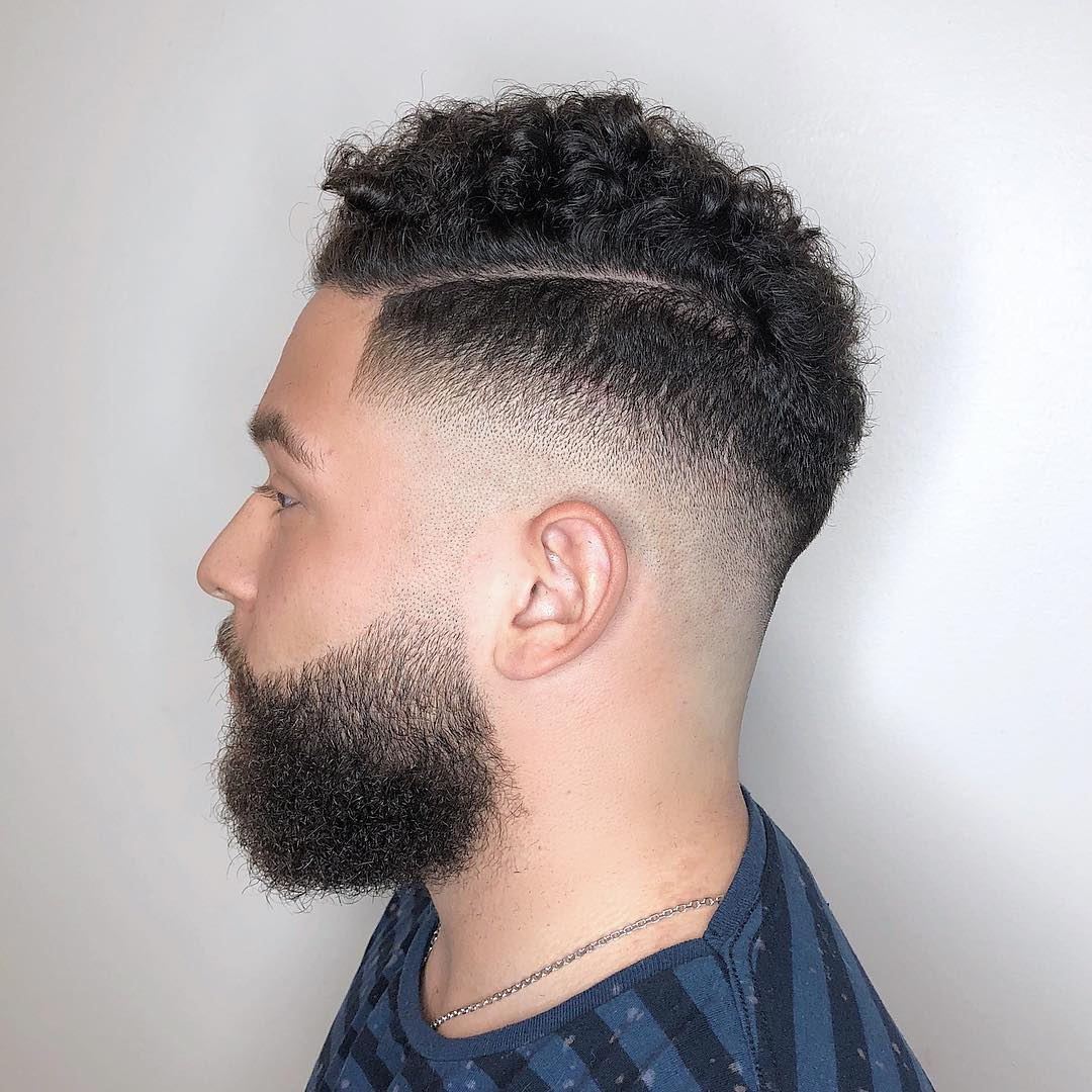 Natural Curly hair + Mid Fade