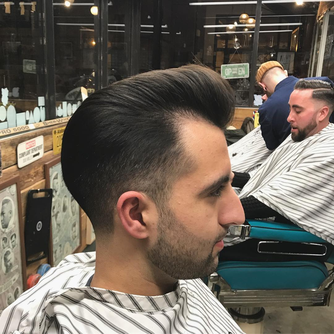 Pompadour with a Fade for Medium hair