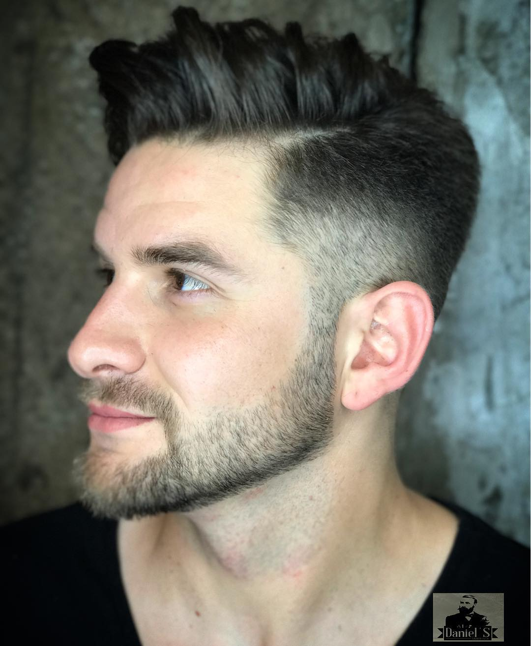 Side-swept Medium Hair with Fade