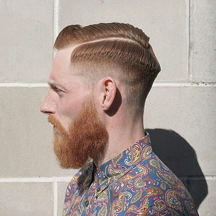 Cool, Sleek Pompadour + Fade + Beard
