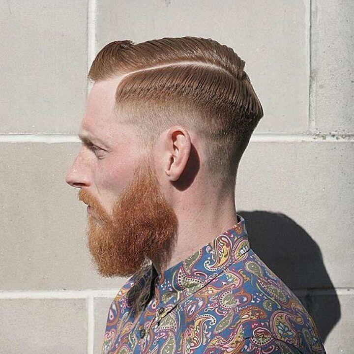 Cool, Sleek Pompadour + Fade + Beard
