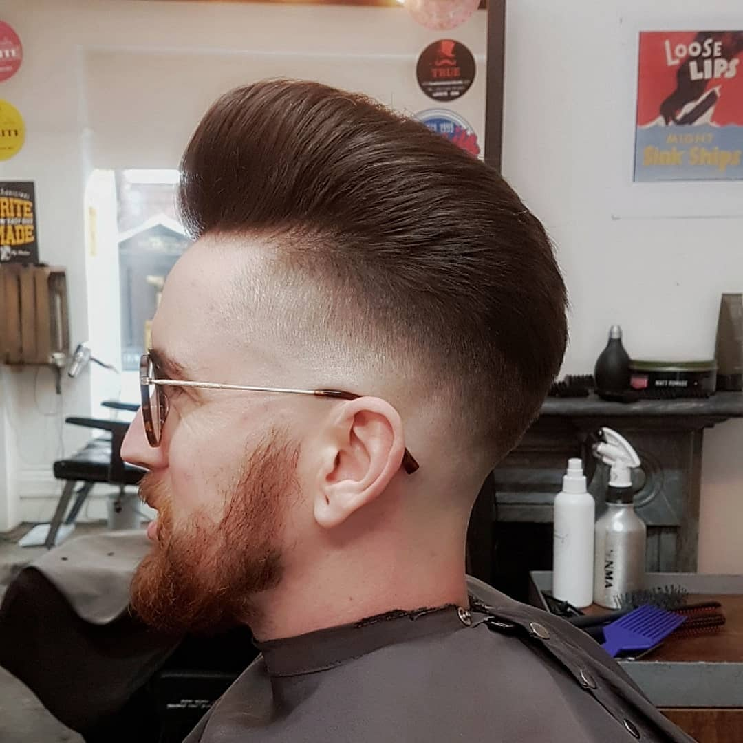 Pompadour + Bald Fade