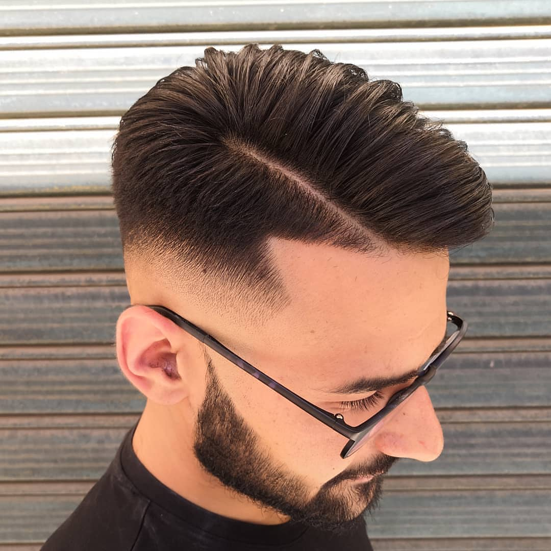 Low Mid Fade + Side Part