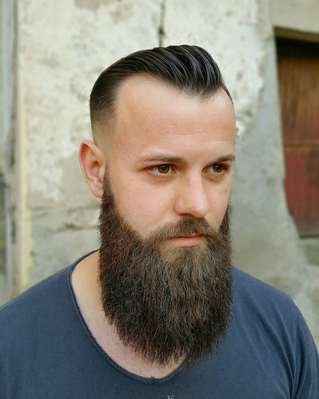 Subtle Pompadour + Heavy Beard