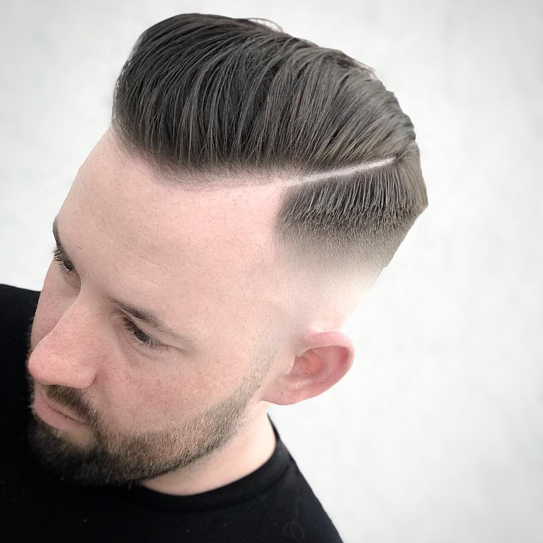 Drop Fade + Hard Side Part