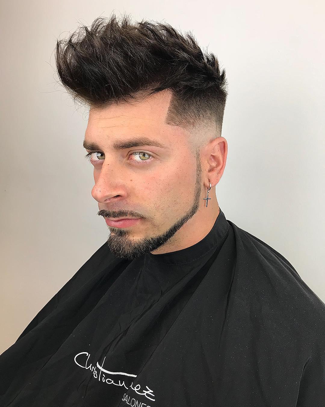 Long Spike cut + Mid Fade + Beard